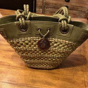 Tommy Bahama green straw tote